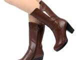 伊蒂卡诺 秋冬季新款女鞋批发真皮中筒靴超高跟厚底骑士靴女靴子