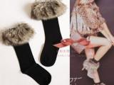 日系长毛皮草翻边雪地秋冬短袜 中筒袜皮草袜 靴袜 毛毛袜 打底袜