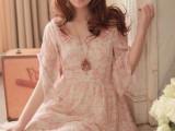 2014夏装新款 修身日系高腰裙雪纺裙女装碎花l连衣裙 LG24