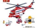 邦宝8315 消防直升飞机 乐高式塑料拼装小颗粒 儿童积木玩具