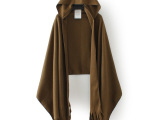 O40 外贸原单女装 秋冬新款欧美范百搭纯色连帽披肩斗篷型围巾
