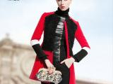 2014新款欧美高端羊毛外套女撞色毛呢秋冬加厚大衣长款女装现货