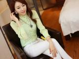 2013秋装新款韩版立领衬衣 高档气质长袖蕾丝打底衫 泡泡袖上衣