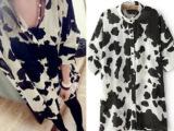 2014夏季新品 欧美范奶牛纹印花短袖雪纺衬衫 女款宽松立领防晒