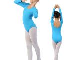 批发紫色幼儿童舞蹈服装纯棉长袖连体练功服女童体操服短袖形体服