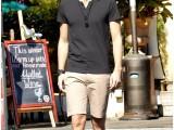 男士短袖t恤男 夏季男装v领体恤衫青年半袖修身韩版衣服