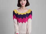 2014秋冬新款女式羊绒针织打底衫 学院风撞色毛衣 鸳鸯袖羊毛衫