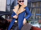 冬装正品牌新款女装加绒绵羊皮衣修身中长款
