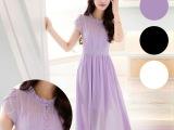 批发2015春夏季新款韩版雪纺连衣裙 修身显瘦荷叶边裙雪纺长裙