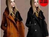 2013秋冬女装新款欧美修身气质翻领双排扣羊毛呢子大衣
