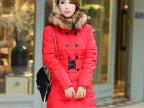 【订】2014秋冬装新款韩版女中长款修身毛领连帽羽绒服女款