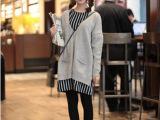 东大门代购秋冬新款 袖子带扣中长款纯色针织毛衣开衫外套