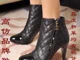 批发高跟靴 厂家直销高跟靴 拼接鞋头高跟靴 真皮低筒高仿高跟靴