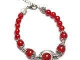 开光正品纯天然红玛瑙藏银搭配复古时尚转运珠女士款手链饰品手串