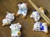 【优质供应】日韩式可爱招财猫陶瓷餐具筷子架创意家居工艺品摆件