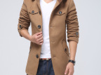 冬装外套新品毛呢男士风衣大衣男 休闲时尚立领男式毛呢外套