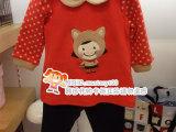 2013秋冬 韩国童装 宝可爱卡通圆点袖桔色加厚长袖套装XA32
