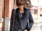 秋冬新款韩版单排扣大翻领男士呢大衣夹克外套