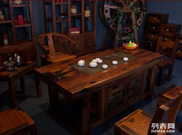 老船木茶台茶桌功夫茶几泡茶桌户外阳台象棋盘茶桌