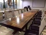 原木实木大板桌办公桌老板桌黑檀巴西花梨奥坎实木大板