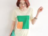 2014韩版女式短袖女t恤衫批发 外贸原单女装 拼色圆领T恤服装
