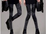 2013秋季新款拼皮雪花弹力棉牛仔加厚打底裤 韩版显瘦小脚铅笔裤