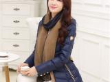 厂家直销2014冬装新款韩版羽绒服女士修身中长款羽绒服送围巾