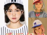 新款韩国女潮时尚夏天代购款 户外帽子 条纹H字母棒球帽 街舞帽