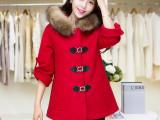 2014秋冬新款女装大衣韩版修身真毛领毛呢子外套 专柜正品 批发