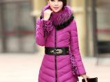 2014秋冬新款羽绒服女修身蕾丝中长款羽绒服外套棉衣