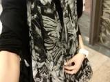 香港IT潮牌天使骷髅超大黑涂鸦围巾流苏丝巾