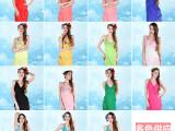 新款雪纺单色纯色糖果色 韩版吊带沙滩巾裙