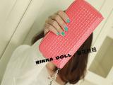韩版钱包 女 2012新款糖果色格子大拉链长款女士钱包 手拿包Q