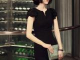 2014夏装V领修身连衣裙子 黑色显瘦雪纺裙 性感包臀短裙通勤