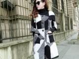 2014冬季棉衣女装新款韩版修身长袖单排扣轩莱茜服饰羊毛大衣特价