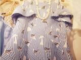 韩国代购兔子印花海军风荷叶边短袖韩版露肩A字清新连衣裙