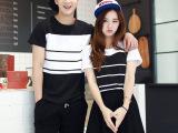情侣装夏装新款印花条纹短袖t恤女韩版学生装班服一件代发