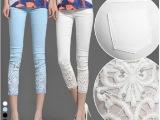 蕾丝钩花镶钻薄夏白色外穿九分小脚裤打底八分七分裤 女裤