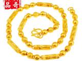 高仿度媲美真黄金 中国风24K金实心三珠六角项链 厂家优质供应.