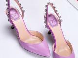 工厂直销小香风女鞋铆钉装饰中跟舒适尖头时尚单鞋性感一件代发