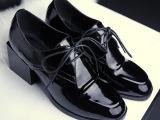 2015新款单鞋时尚英伦风圆头真皮中跟单鞋方跟女鞋微信代理