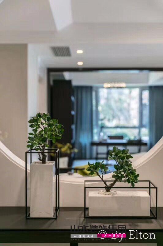 装修实景图东方蓝海三室两厅170平米户型设计新中式简约风格