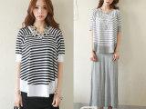 香港IT代购韩国SZ正品宽松个性蝙蝠袖条纹背心长裙两件套