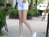 模特实拍 2015 新款 高腰 修身显瘦 白色 牛仔短裤热裤女