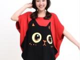 2014新款韩版新潮可爱猫咪脸宽松胖MM孕妇装短袖t恤