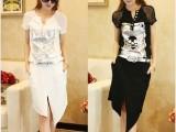 2014夏季女装新款韩版修身不规则休闲雪纺连衣裙子6182