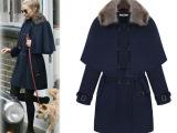 冬季新款韩国SZ大牌欧美风毛呢大衣毛领斗篷式女士呢子大衣外套