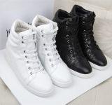 淘宝 微信代理2015新款外贸真皮运动鞋女士高帮鞋 内增高休闲鞋