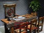 嘉峪关市老船木家具茶桌椅子沙发茶台茶几办公桌餐桌鱼缸置物架子