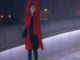 克拉恋人同款高雯红色不对称飘带外套长款风衣迪丽热巴大衣